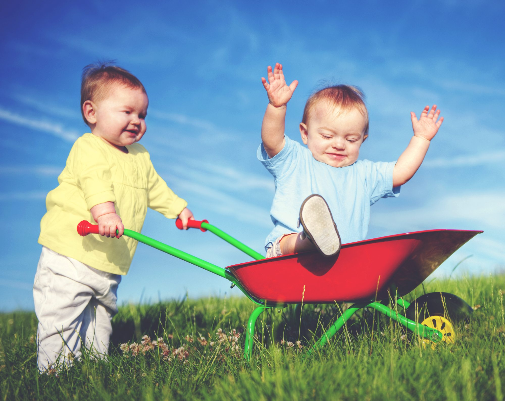 Two Toddlers Playing Together Outdoors Concept